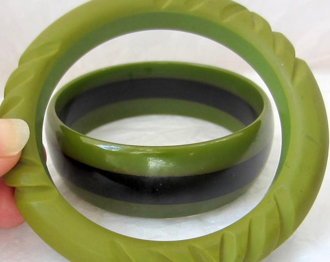 Set JADE Green BAKELITE tested Bangle Bracelets: one carved & one multi-striped ~55 gms of unique vintage costume jewelry