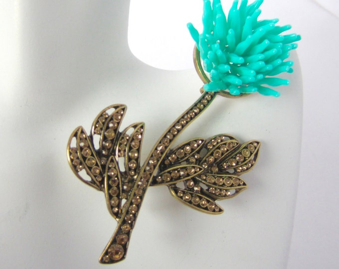 Unique, TURQUOISE Petal & Chocolate Crystal Chrysanthemum FLOWER pin ~mesmerizing, vintage costume jewelry