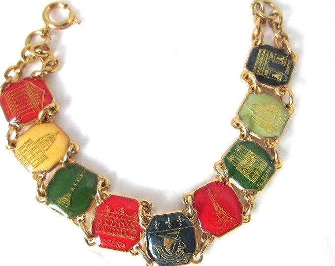 Paris, France, souvenir enamel book-link Bracelet with Notre Dame, Eiffel Towel, and more ~fun, green, yellow & red colors