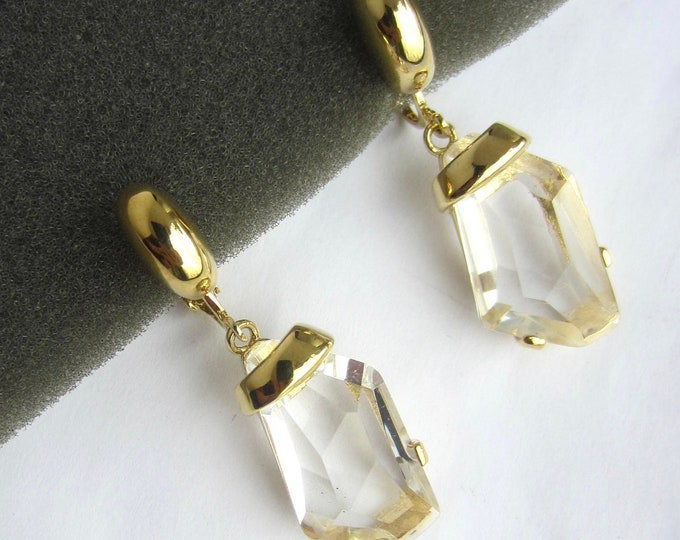 Kenneth Jay Lane signed chunky Crystal, Gold tone Pierced EARRINGS, org. box, pouch ~vintage costume jewelry