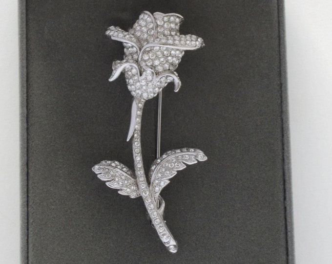 Nolan Miller signed dimensional ROSE bud pin, beautiful crystals, original box, warranty, & Romance card ~classic, vintage costume jewelry
