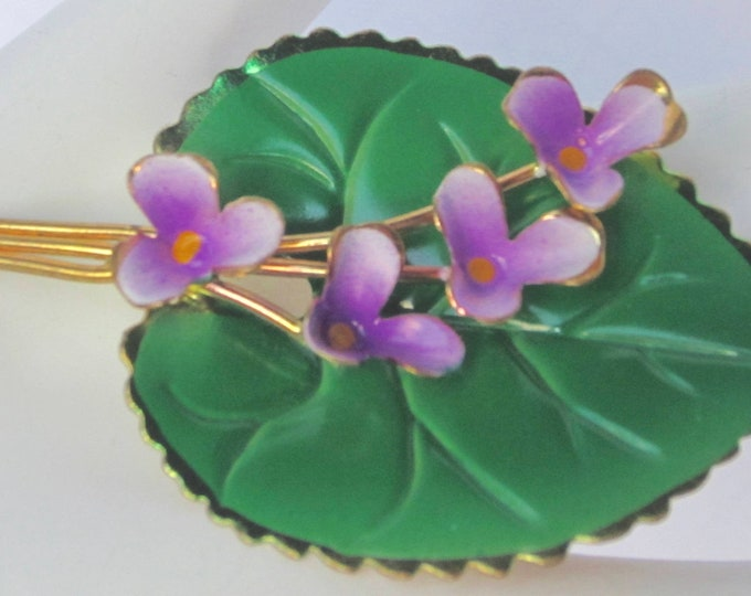 "AUSTRIA signed ""PURPLE flowers on a GREEN Lily pad"" enamel, gold tone, & wire work Pin ~delicate, vintage costume jewelry"