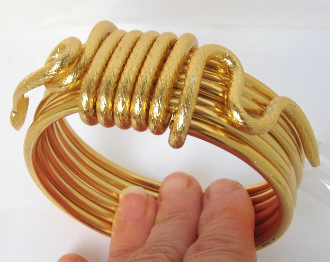 Egyptian Revival coiled, 3-dimensional SNAKE Bangle BRACELET ~amazing vintage costume jewelry