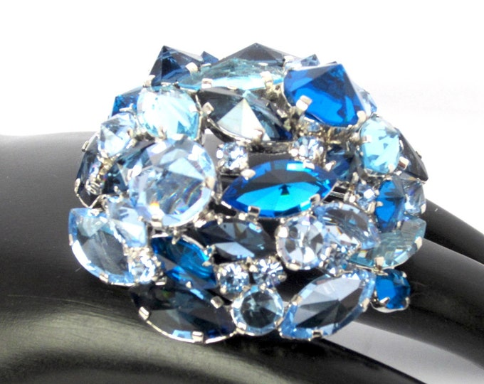 "AUSTRIA signed ""Shades & Shapes of BLUE"" domed crystal pin ~outstanding and unique vintage costume jewelry"