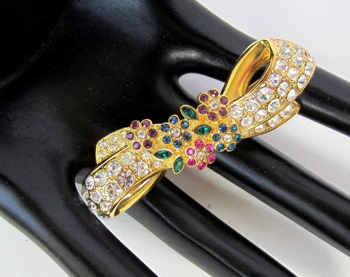 Nolan Miller signed ribbon with crystal flower bouquet PIN ~lovely, dimensional, vintage costume jewelry