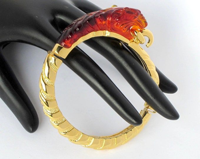 Kenneth Jay Lane (KJL) TIGER lucite tortoise shell Clamper Bracelet with original box ~loverly, vintage costume jewelry