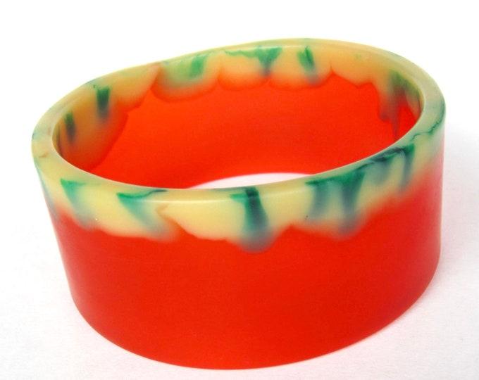 "Electric orange jello ""Lava Flow"" swirling Lucite/Acrylic Bangle Bracelet ~49 gms of unique, vintage costume jewelry"