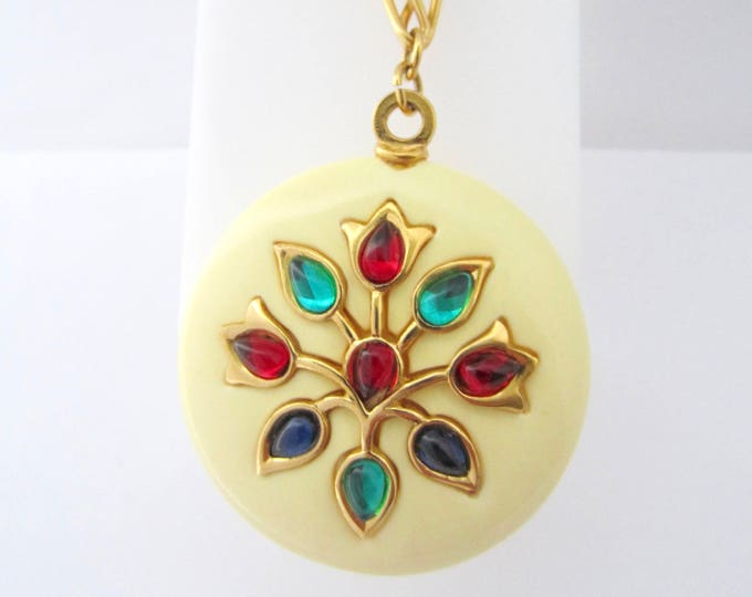 "Crown Trifari signed ""Persian Garden"" Moghul style TULIP pendant with original chain ~collective, vintage costume jewelry"