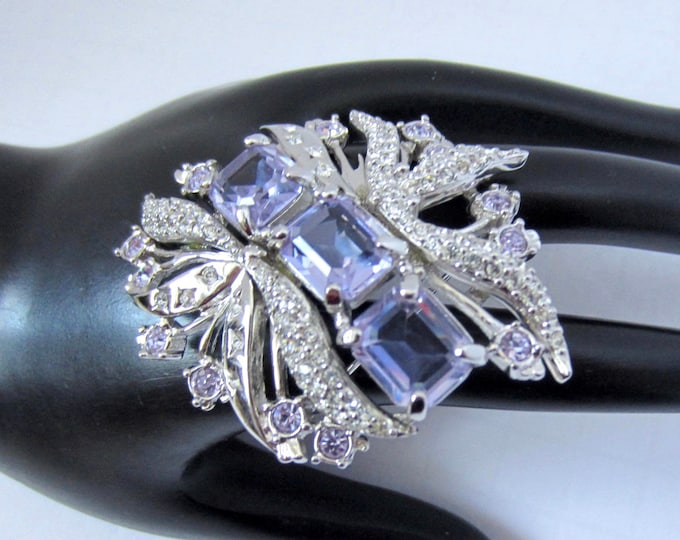"Genuine SWAROVSKI signed purple-blue (periwinkle) ""celestial"" crystal FLOWER pin ~lovely vintage costume jewelry"