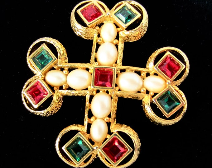 Joan Rivers signed red, green Crystal, Baroque pearl bead, & rich gold tone MALTESE CROSS pin ~big, bold, beautiful vintage costume jewelry