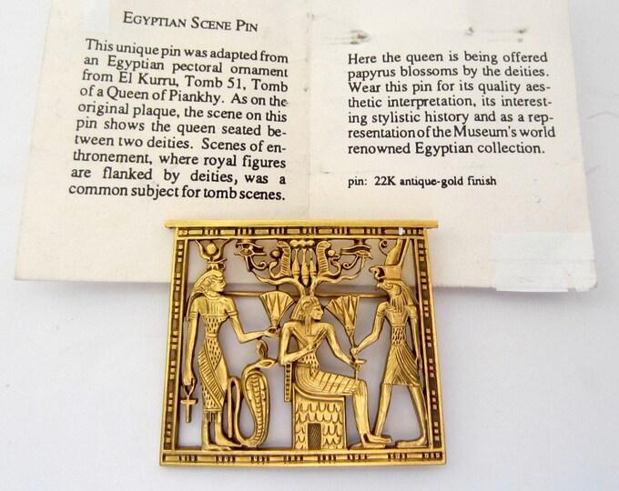MFA—Museum of Fine Arts Boston Egyptian Revival scene (Queen & Deities) Brooch ~pretty, vintage costume jewelry