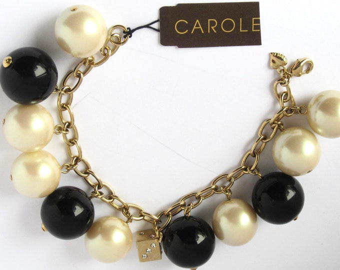 "CAROLEE signed pearl glass bead ""CHA CHA"" charm bracelet with original hang tag"