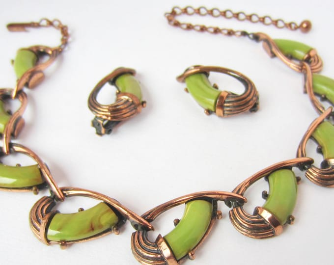 Charel signed Bakelite tested Pistachio GREEN & Mocha, End-of-the-Day marbled, copper Necklace, Earring SET ~rare, vintage costume jewelry