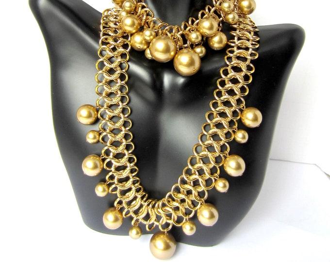 "Kenneth Jay Lane (KJL) Golden glass pearl bead NECKLACE & ""cha cha"" BRACELET set ~beautiful, vintage costume jewelry"