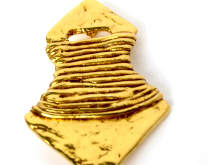 Made in France signed torso abstract, MODERNIST gold tone pin ~unique vintage costume jewelry