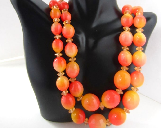"Hong Kong signed ""Tequila Sunrise"" orange & yellow beaded, double-stranded Necklace ~beautiful, mid-century costume jewelry"