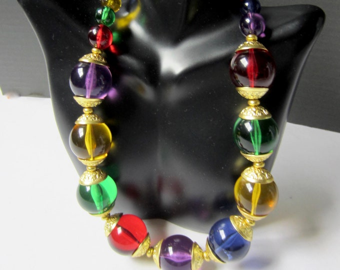 "Lucite ""Pools of Light"" dramatic beaded necklace ~pretty vintage fashion jewelry"