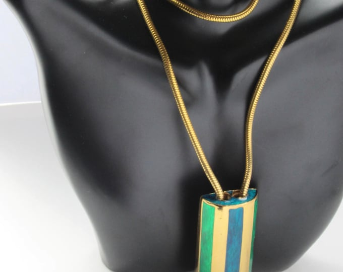 BOUCHER signed & numbered Modernist Pendant with original Snake chain jewelry ~awesome, collective vintage costume jewelry