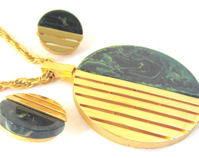 Reserved for Chris* BAKELITE Trifari signed tested BLUE MOON, Art Deco-inspired Pendant, Earring Set ~tested, wonderful, collectible vintage