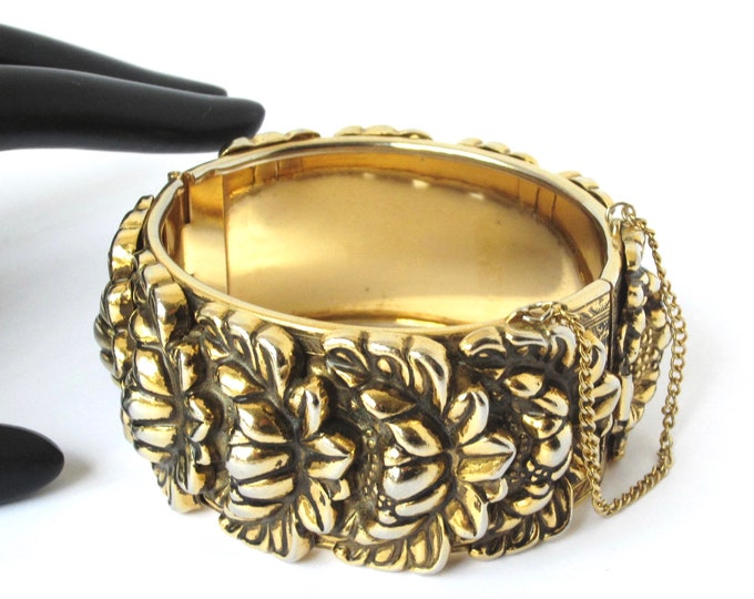 Vargas signed repousee, floral Art Nouveau inspired, hinged, clamper Bangle Bracelet ~lovely vintage costume jewelry