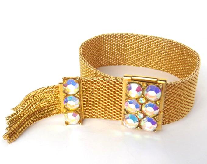 Mesh Chain & Tassel, Crystal, gold tone ADJUSTABLE, hinged Bracelet ~vintage costume jewelry