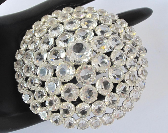 "Massive Juliana style domed~tiered crystal PIN over 3"" & 1"" height ~amazing, vintage costume jewelry"