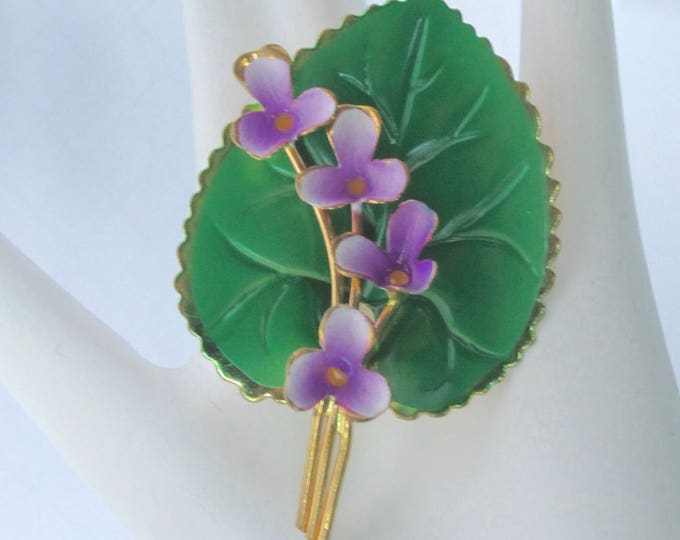 """AUSTRIA signed """"PURPLE flowers on a GREEN Lily pad"""" enamel, gold tone, & wire work Pin ~delicate, vintage costume jewelry"""
