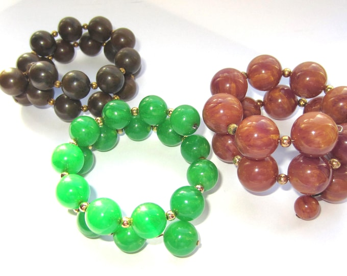 Three BAKELITE tested plumb-custard, Candy Apple GREEN, & drab GREEN bead stretch Bracelet lot ~91 gms of fun, vintage costume jewelry