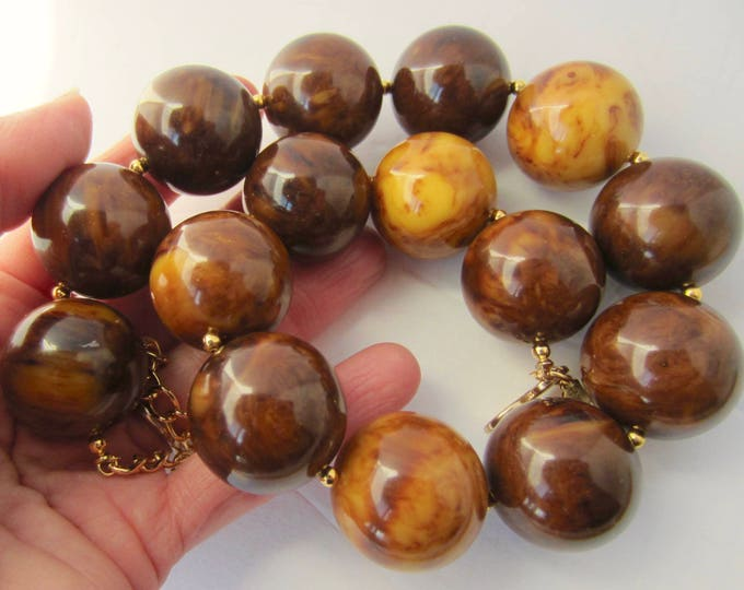 Massive Kenneth Jay Lane (KJL) signed BAKELITE tested Butterscotch & Mocha beaded NECKLACE ~159 gms of sensational vintage costume jewelry
