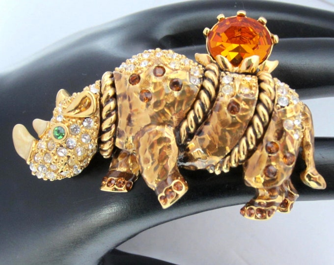 Genuine SWAROVSKI swan signed Rhinoceros pin with enameling & fancy cut crystal ~unique, figural costume jewelry
