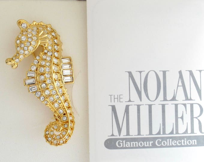 Nolan Miller signed crystal Sea Horse pin, original box, warranty ~lovely, whimsical, vintage costume jewelry