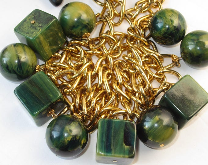 Bakelite tested GREEN beautifully marbled,  End-of-the-Day Charms wrap Necklace/Belt ~unique, vintage costume jewelry