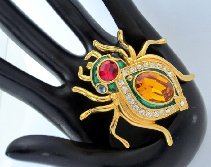 Kenneth Jay Lane signed crystal & enamel, SCARAB beetle pin with original box, warranty, pouch ~collectible, vintage costume jewelry