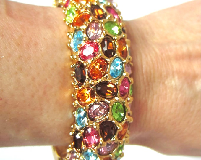 Kenneth Jay Lane signed multi-color crystal clamper Bangle Bracelet with org. Box, Romance Card, & Warranty ~wonderful, costume jewelry