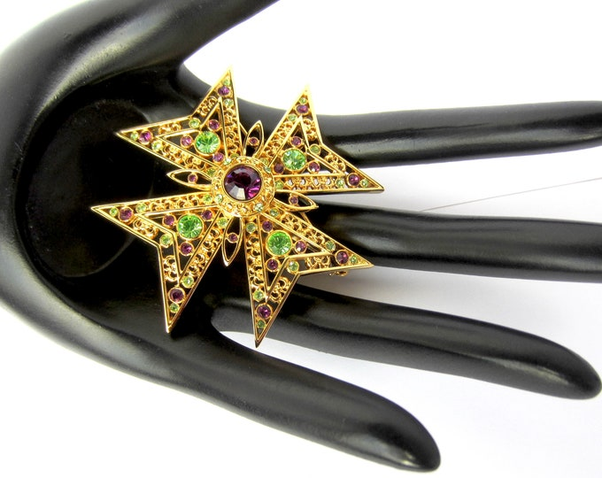 Nolan Miller signed Purple, Green crystal Maltese Cross PIN with org. box ~collectible, vintage costume jewelry