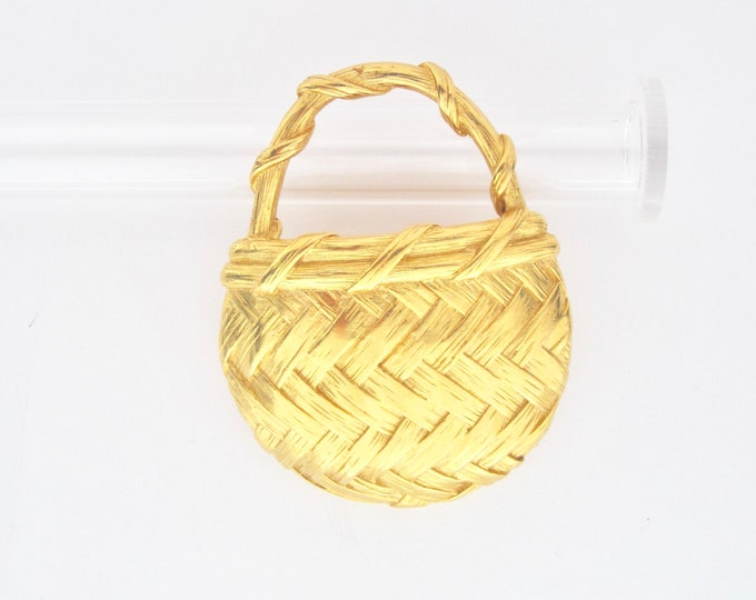 GIVENCHY signed woven, golden Basket PIN ~pretty vintage costume jewelry