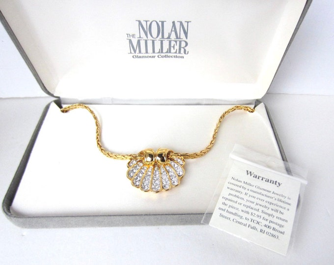 Nolan Miller signed SEASHELL pendant & chain SET with original box, warranty ~elegant, vintage costume jewelry