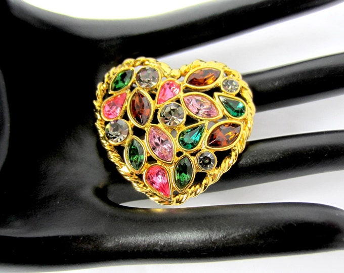 "True ""Fruit Salad"" HEART-shaped pink, purple, green crystal PIN ~fun vintage costume jewelry"