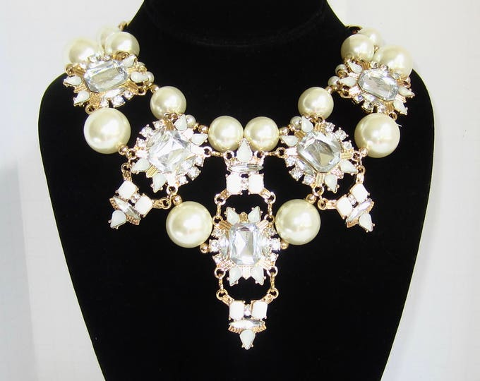 Massive Designer Quality Pearl Bead & Crystal RUNWAY Bib Necklace ~new old stock vintage costume jewelry