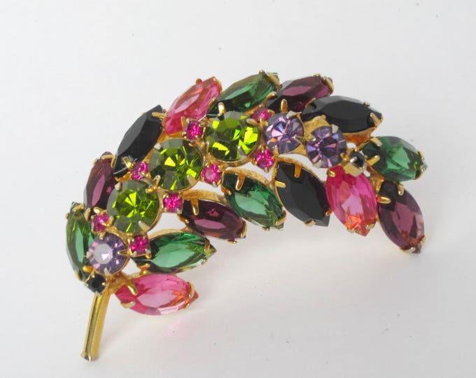 Juliana big pink, green, purple crystal leaf pin ~pretty, vintage costume jewelry