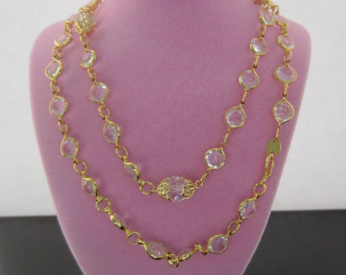 Pretty, clear crystal, gold tone Necklace & Bracelet set ~lovely, vintage costume jewelry