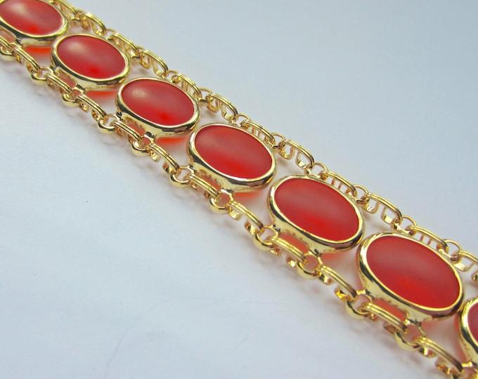 Glowing ORANGE translucent lucite, cabochon book chain, panel link Bracelet ~unique, pretty vintage costume jewelry