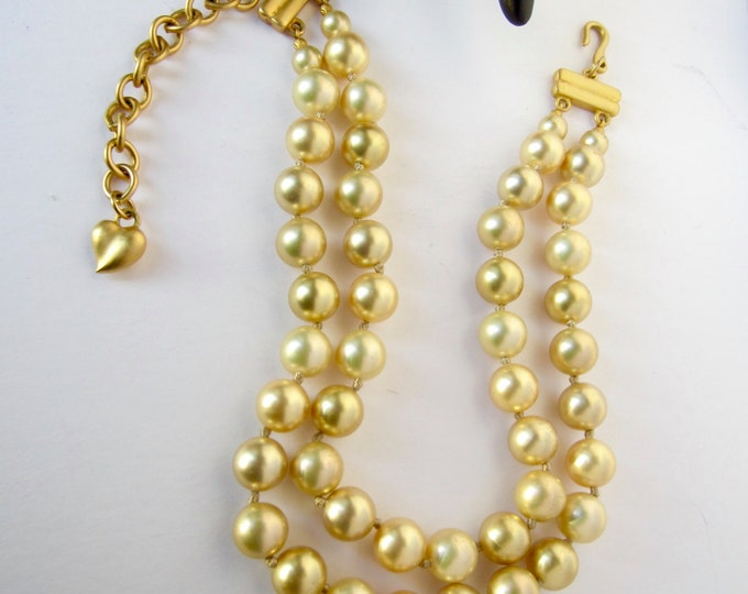 CAROLEE signed GOLDEN pearl bead, double-strand, hand-knotted NECKLACE ~pretty, vintage costume jewelry