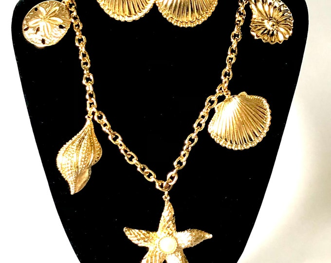Kenneth Jay Lane (KJL) for Avon signed runway Seashell charm Necklace & Earring Set ~beautiful elegant, costume jewelry