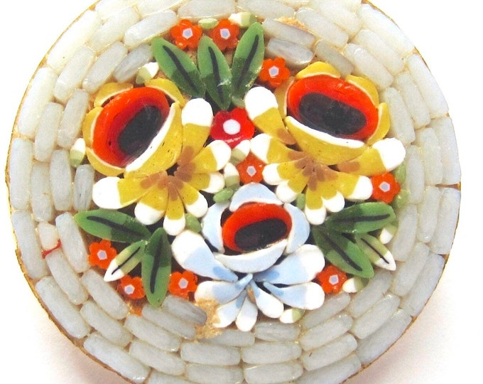 """Italy signed """"Millefiori"""" micro mosaic glass Grey, Red, Yellow Flower Bouquet PIN with gold tone metal ~lovely vintage costume jewelry"""