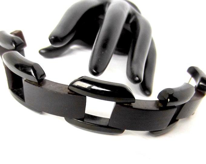 "Unique Bakelite & wood Black ""Railroad Ties"" Industrial Age link Bracelet ~**gms of awesome costume jewelry"
