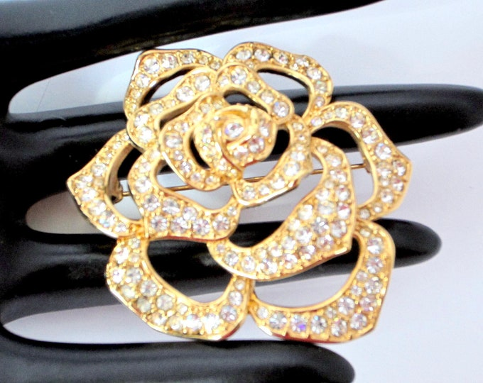 """ELizabeth Taylor for Avon signed big, golden Rose pin ~beautiful costume jewelry sold """"As Is"""" ~wearable/repairable"""
