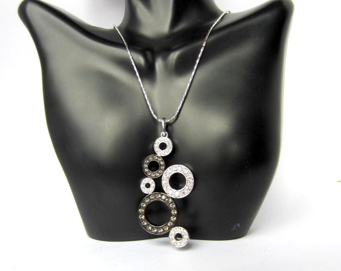 "Nolan Miller signed black & white ""diamond"" Bubbles crystal Pendant, Chain, org.  box, and warranty card ~pretty costume jewelry"