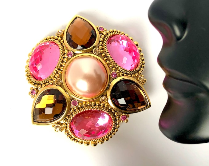 """Joan Rivers signed """"Pretty in Pink"""" crystal & faux pearl cross Pin ~43 gms of vintage costume jewelry"""