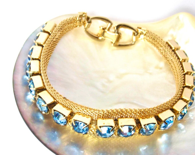 ICY Blue rhinestone MESH bracelet ~lovely, vintage costume jewelry
